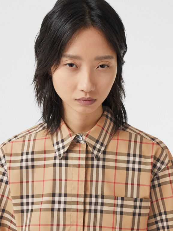 Short-sleeve Vintage Check Stretch Cotton Shirt in Archive Beige - Women | Burberry United Kingdom - cell image 1