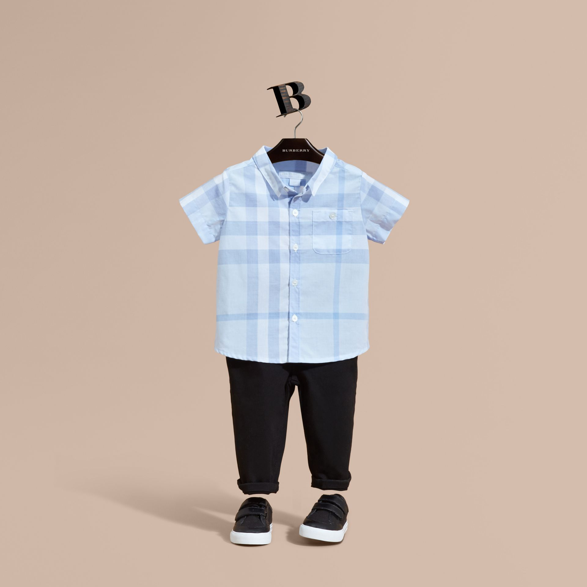 Ice blue Short-sleeve Check Cotton Shirt - gallery image 1