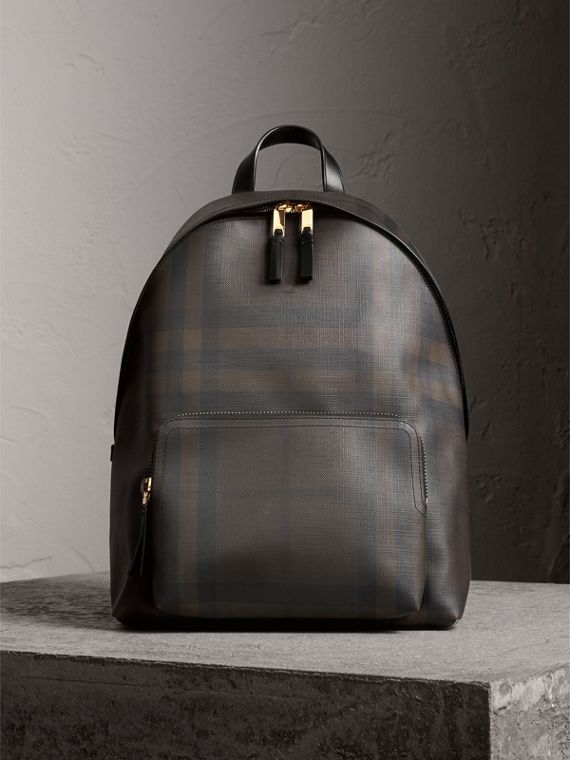 Leather Trim London Check Backpack in Chocolate/black - Men | Burberry