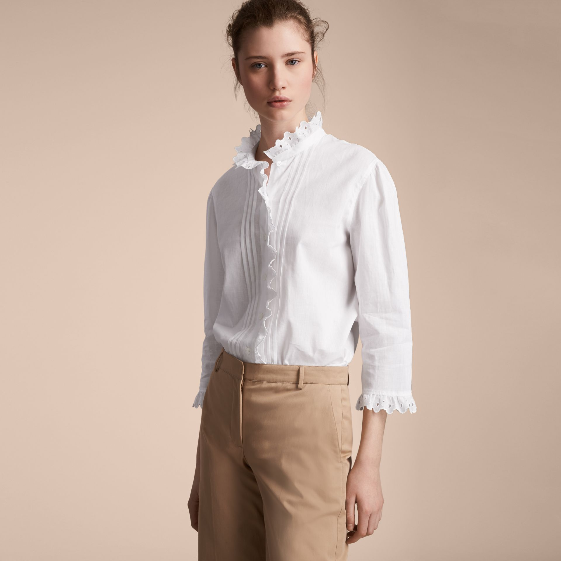Broderie Anglaise Detail Linen Cotton Shirt - Women | Burberry - gallery image 6