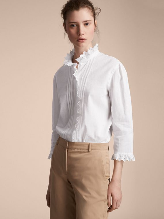 Broderie Anglaise Detail Linen Cotton Shirt - Women | Burberry