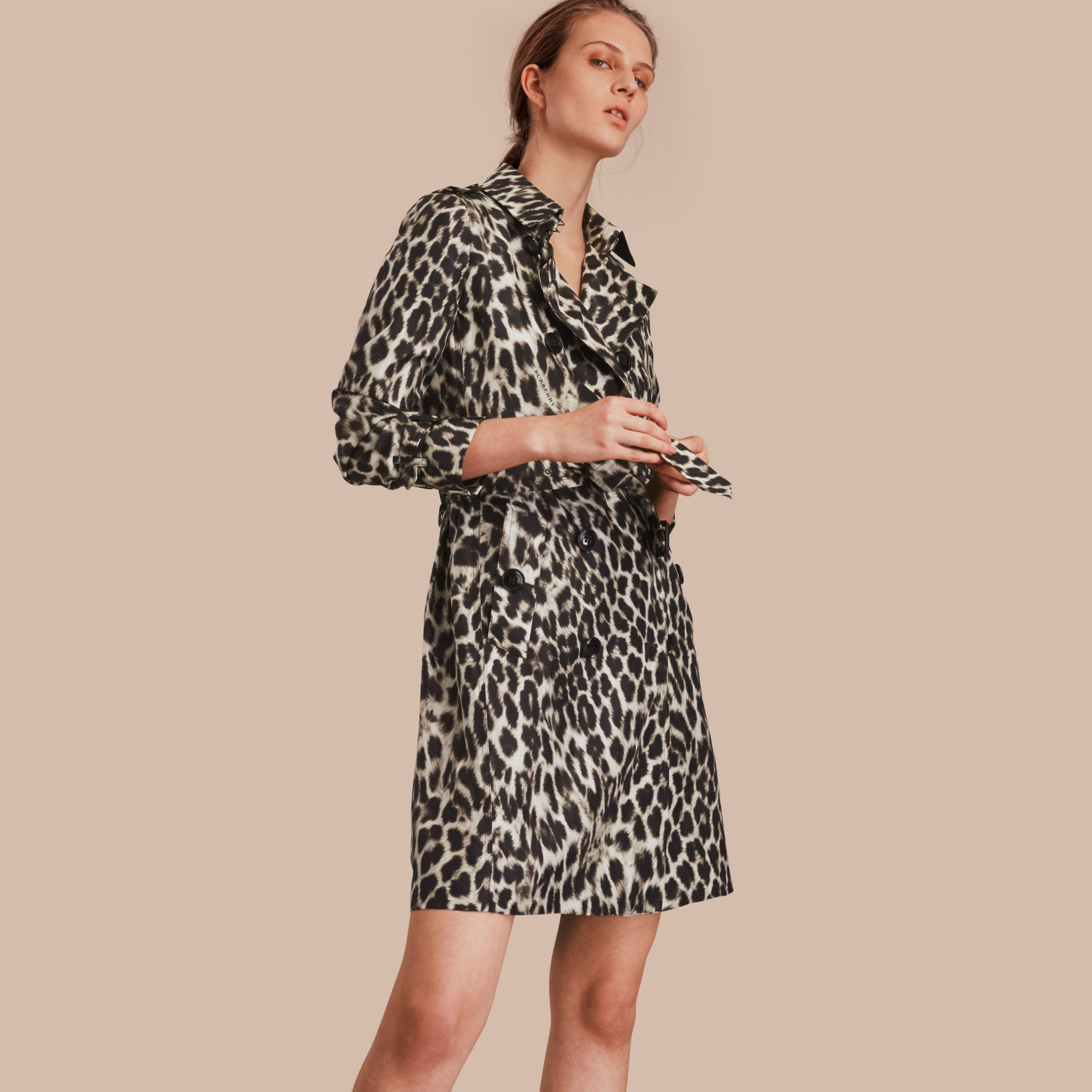 Animal Print Silk Trench Coat - gallery image 1