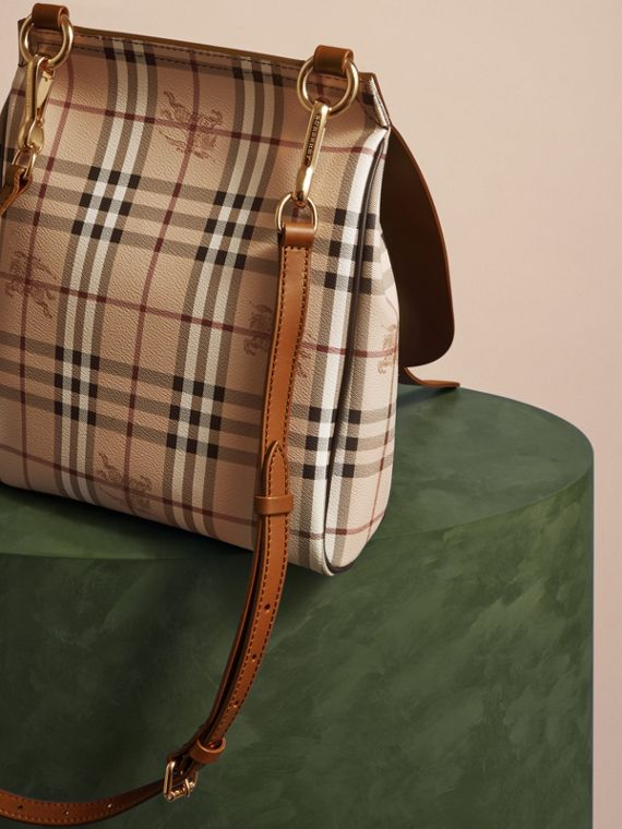 The Small Bridle Bag in Leather and Haymarket Check Tan - cell image 3