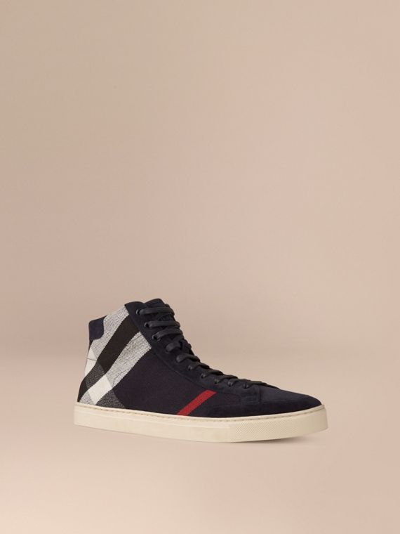 Exploded Check Suede and Jute High-top Trainers