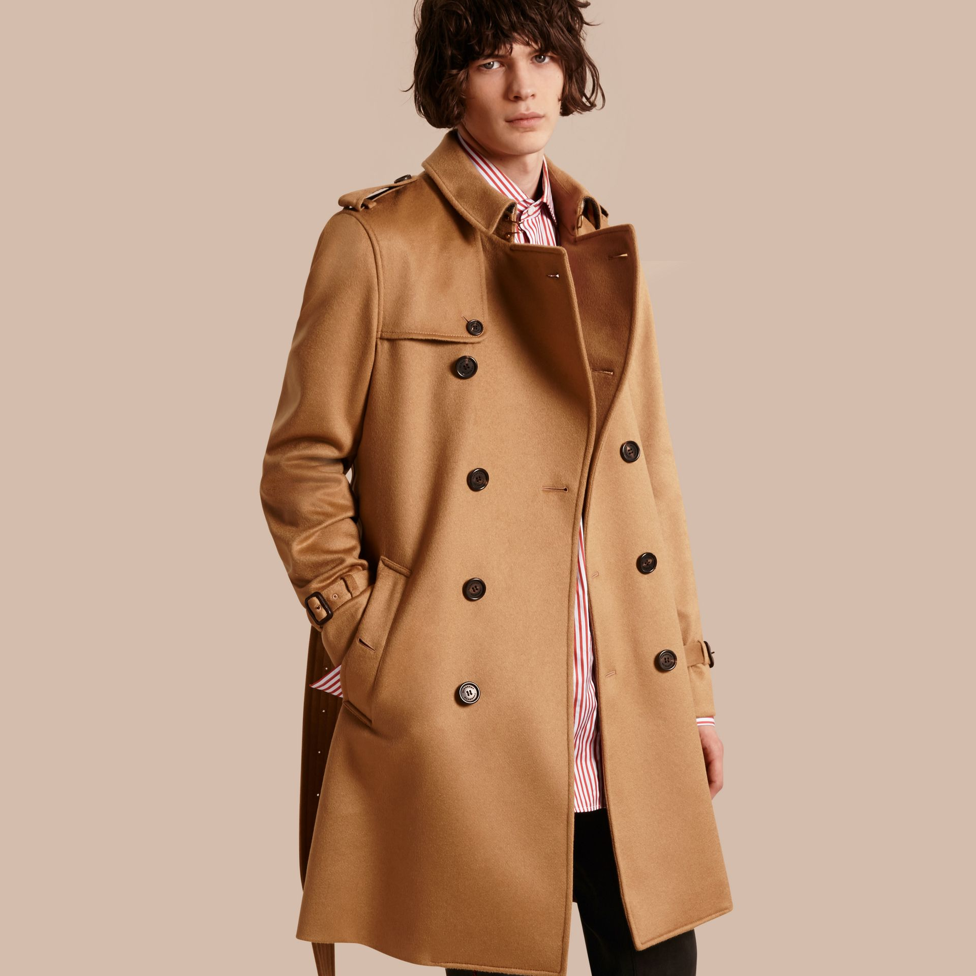 Cashmere Trench Coat Dark Camel - gallery image 1