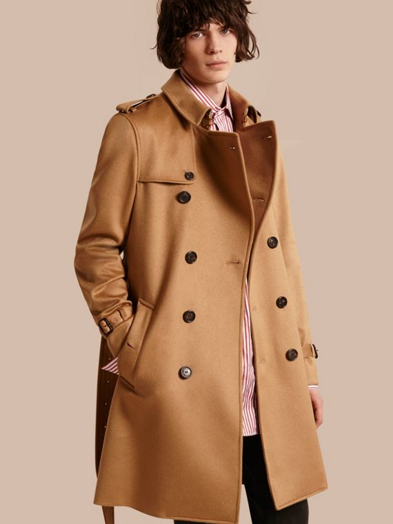 Cashmere Trench Coat in Dark Camel - Men | Burberry Canada
