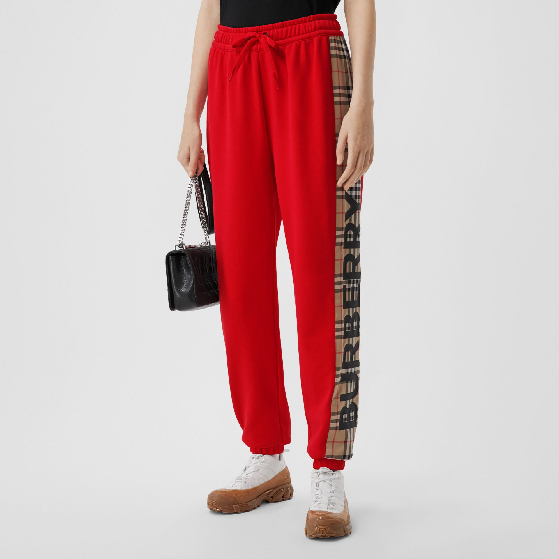 Vintage Check Panel Cotton Trackpants in Bright Red - Women | Burberry Hong Kong S.A.R - gallery image 4