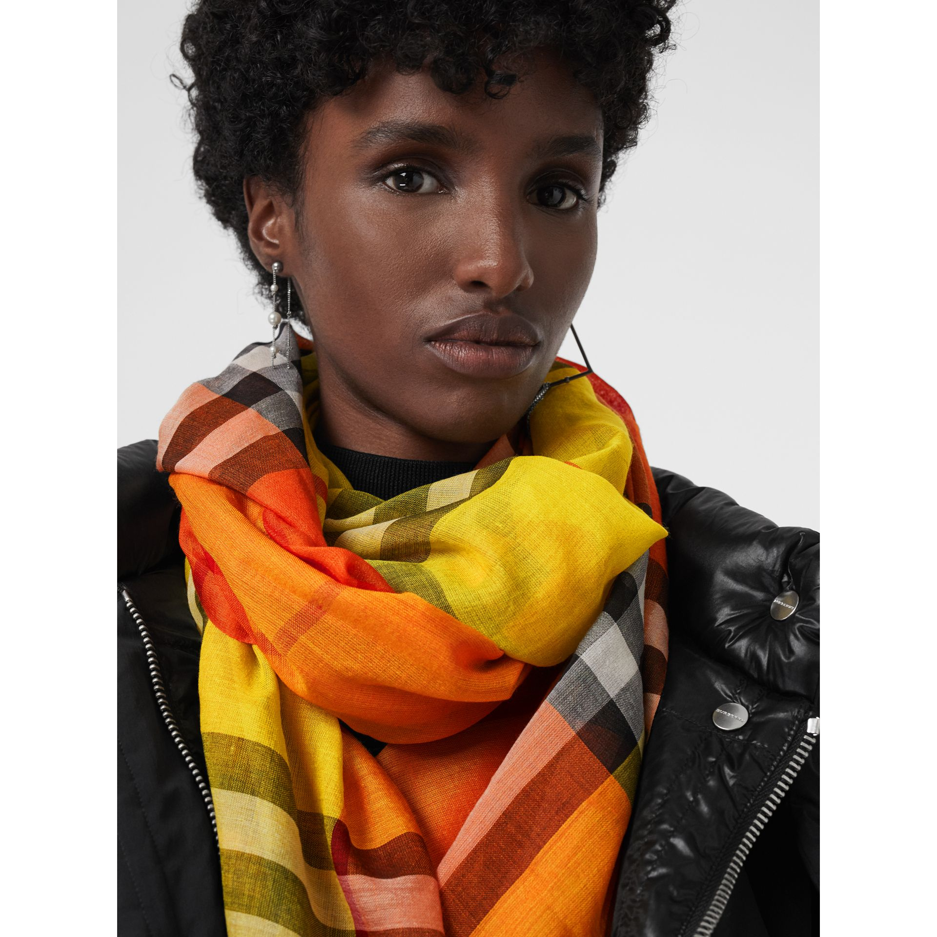 Colour Block Check Wool Silk Scarf in Amber Yellow | Burberry - gallery image 5