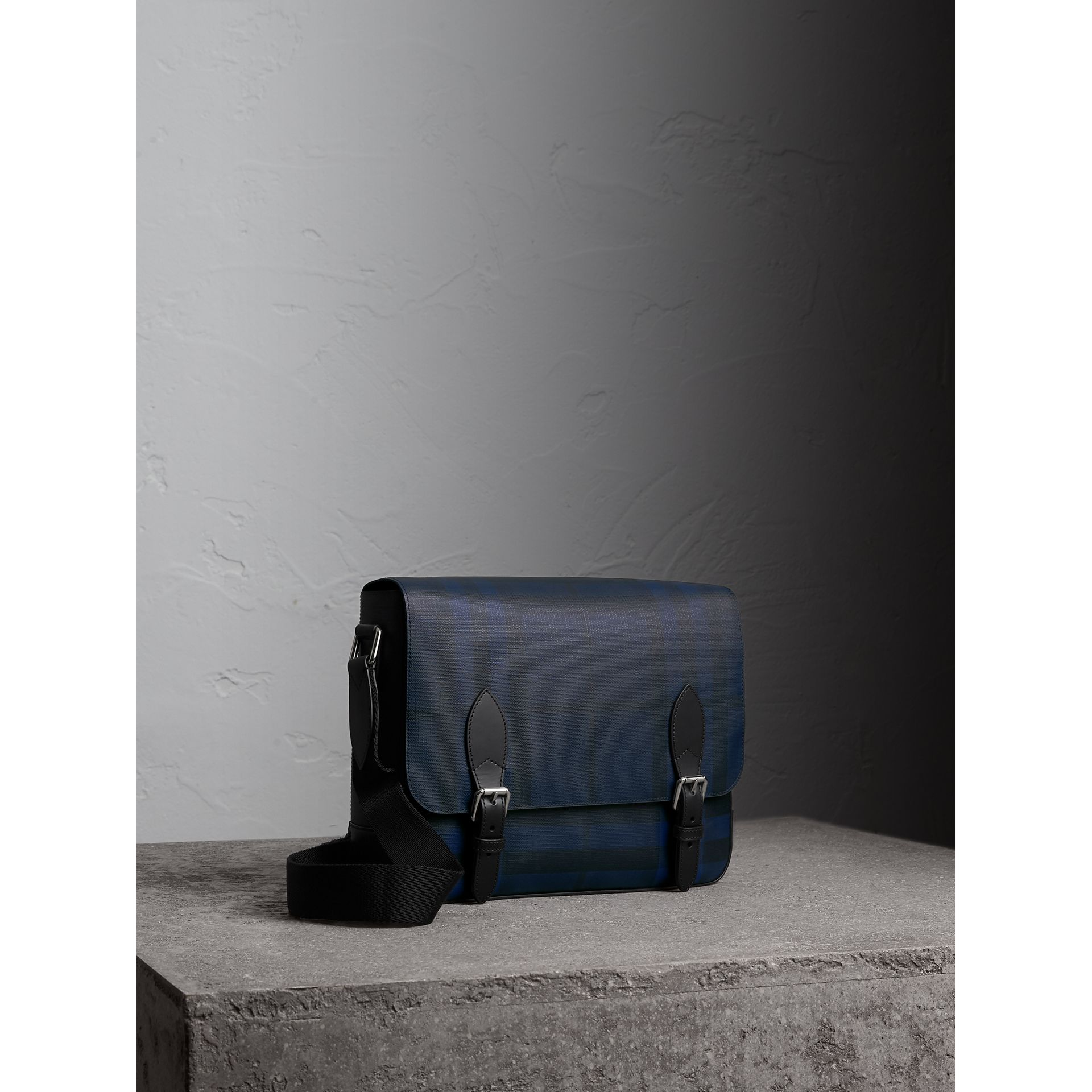 Medium Leather Trim London Check Messenger Bag in Navy/black - Men | Burberry Singapore - gallery image 5