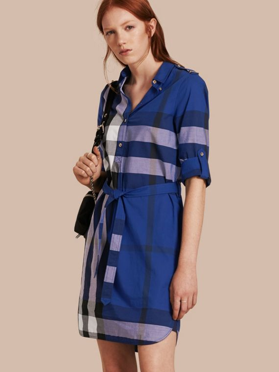 Check Cotton Shirt Dress Brilliant Blue