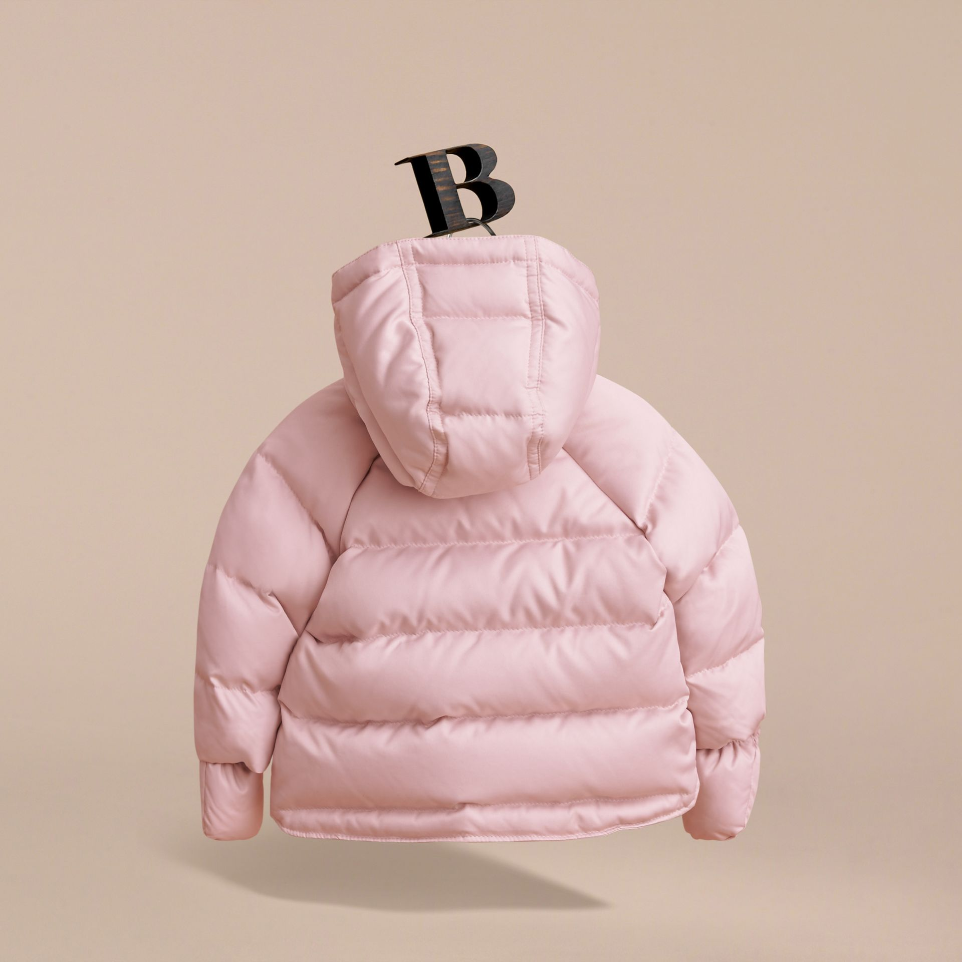 Hooded Down-filled Puffer Jacket with Mittens in Powder Pink | Burberry - gallery image 4