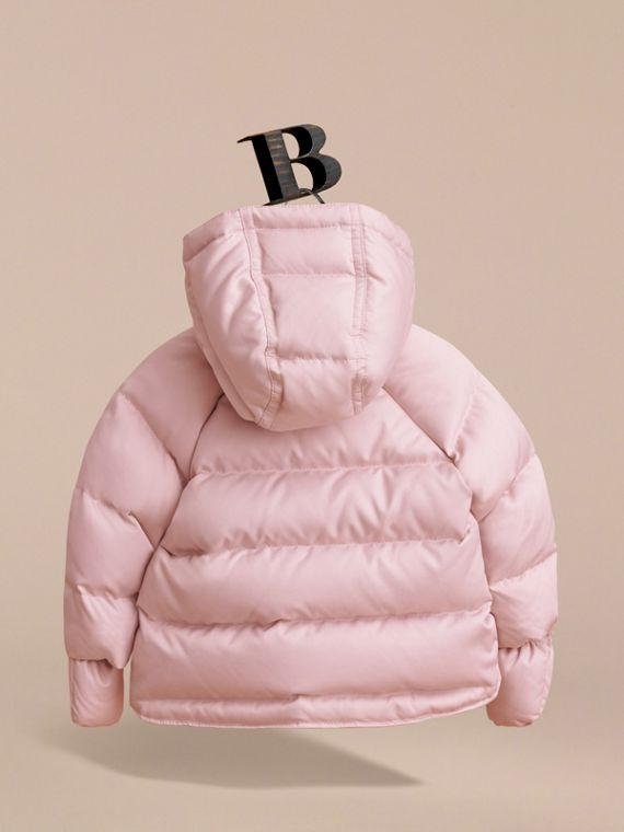 Hooded Down-filled Puffer Jacket with Mittens in Powder Pink | Burberry - cell image 3