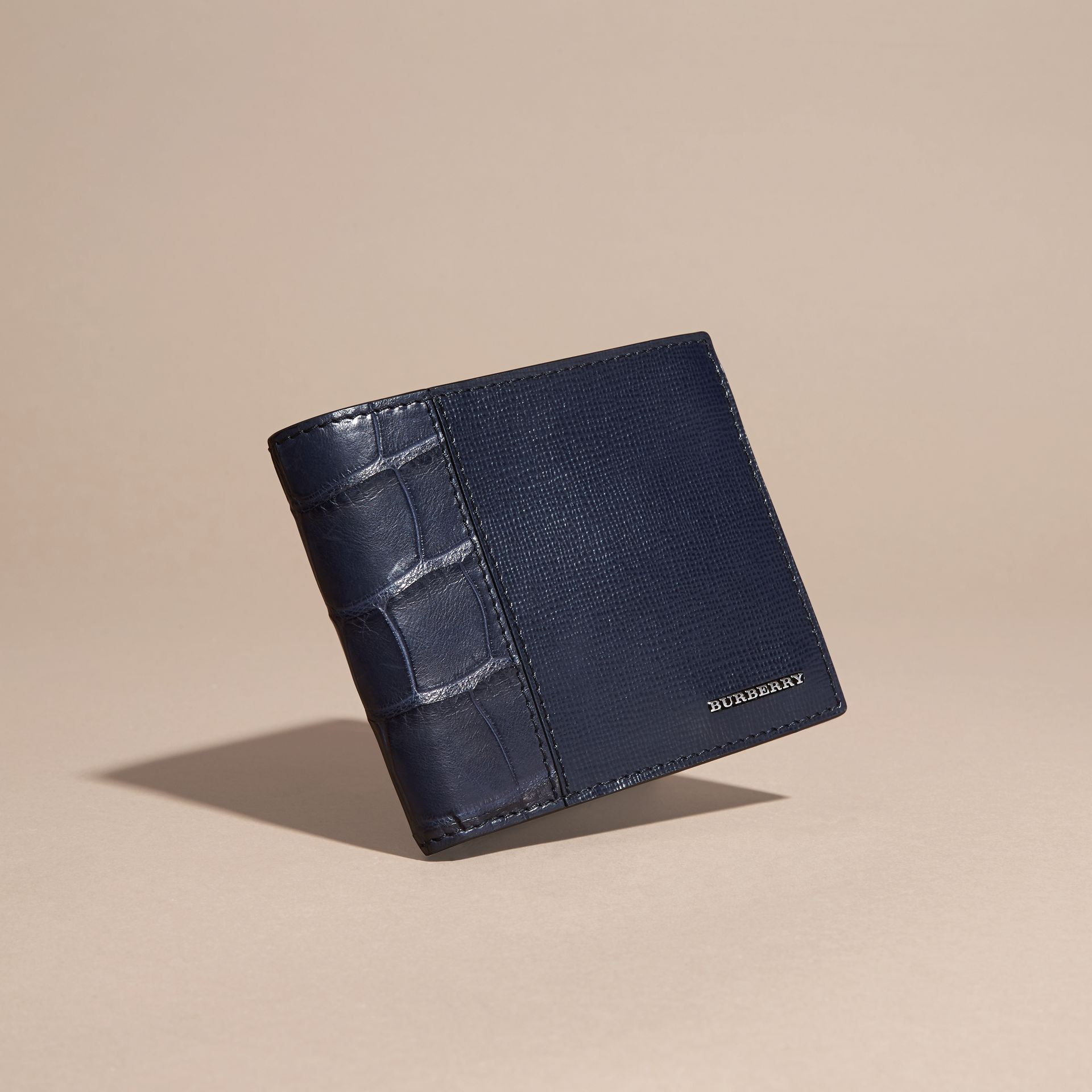 London Leather and Alligator Folding Wallet Dark Navy - gallery image 3