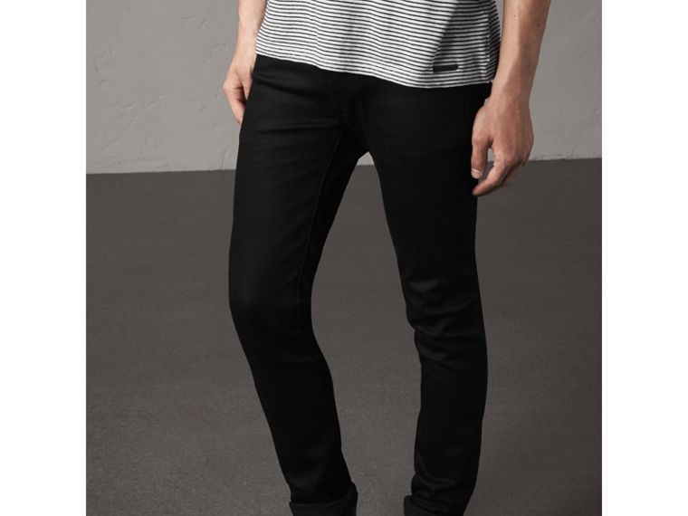 Skinny Fit Brushed Stretch Denim Jeans - Men | Burberry - cell image 4