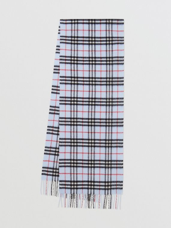 The Classic Vintage Check Cashmere Scarf in Pale Blue