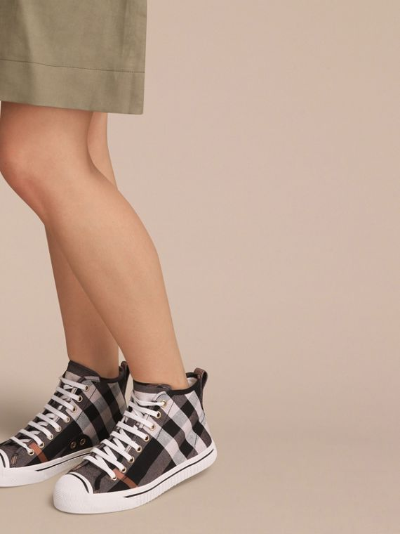 Check Linen Cotton High-top Trainers - Women | Burberry - cell image 2