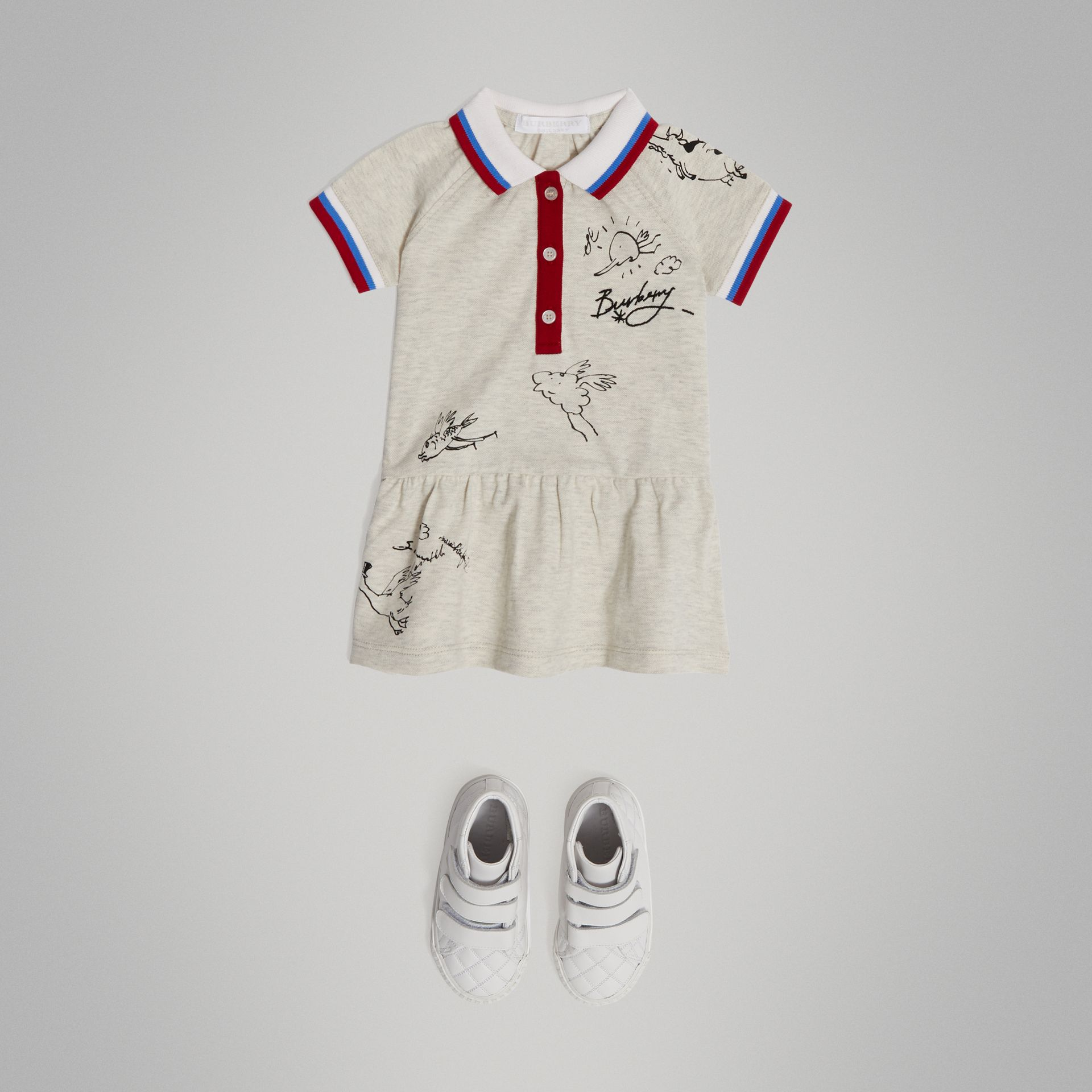 Stretch Cotton Polo Dress in White Melange - Children | Burberry - gallery image 2