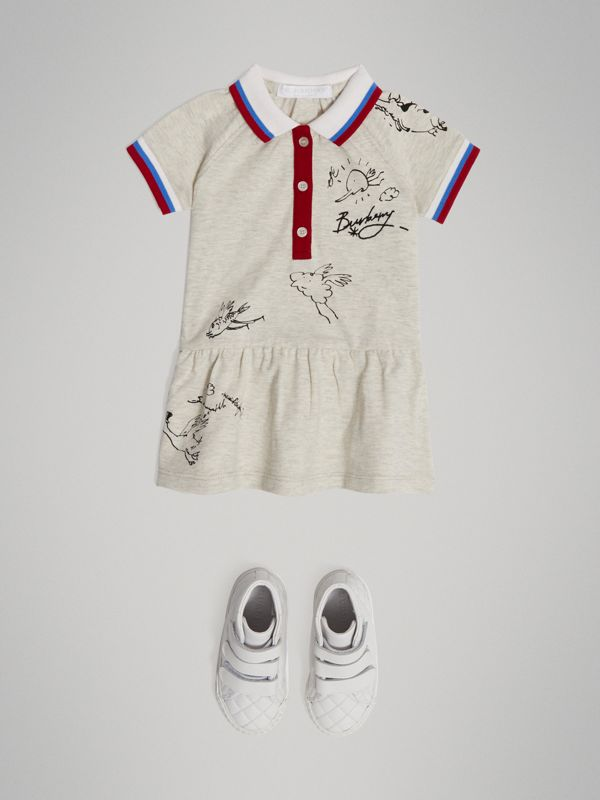 Stretch Cotton Polo Dress in White Melange - Children | Burberry - cell image 2
