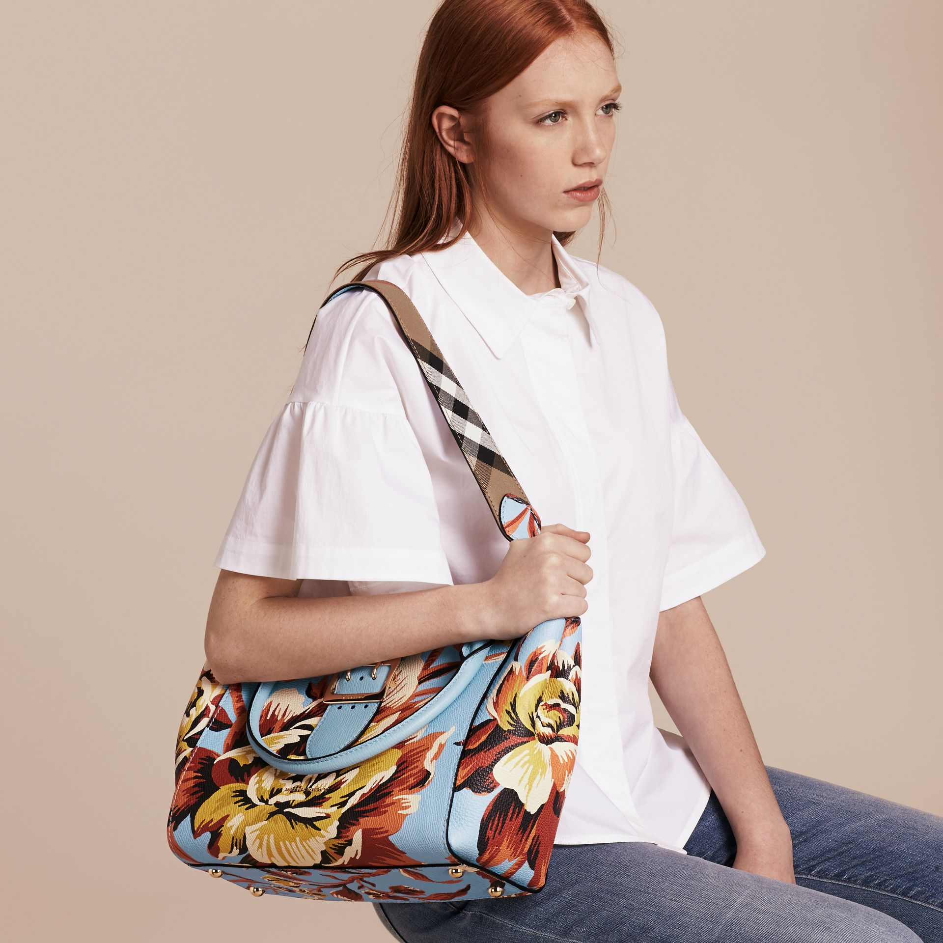 Pale blue/vibrant orange The Medium Buckle Tote in Peony Rose Print Leather Pale Blue/vibrant Orange - gallery image 4