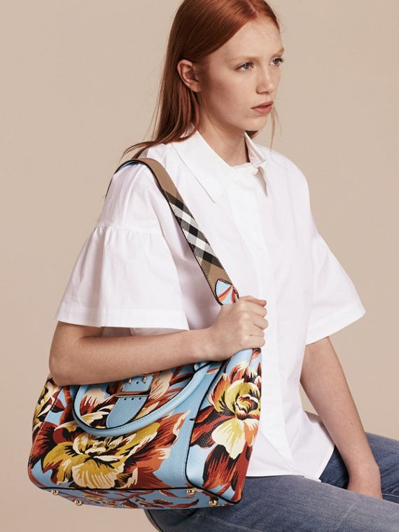 Pale blue/vibrant orange The Medium Buckle Tote in Peony Rose Print Leather Pale Blue/vibrant Orange - cell image 3