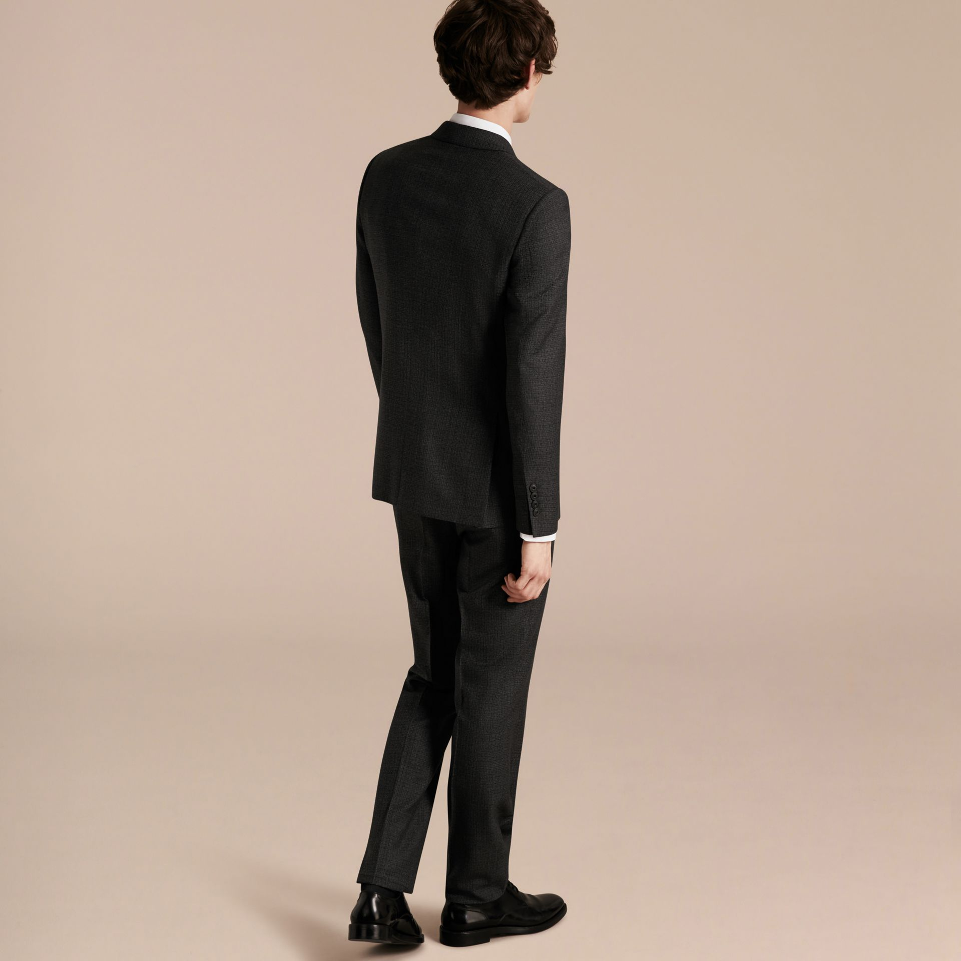 Dark grey melange Slim Fit Melange Wool Half-canvas Suit - gallery image 3