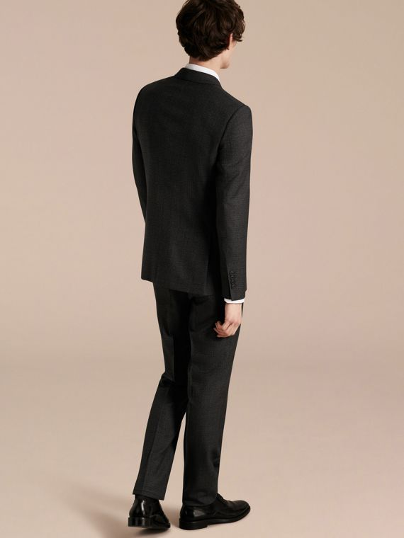 Dark grey melange Slim Fit Melange Wool Half-canvas Suit - cell image 2