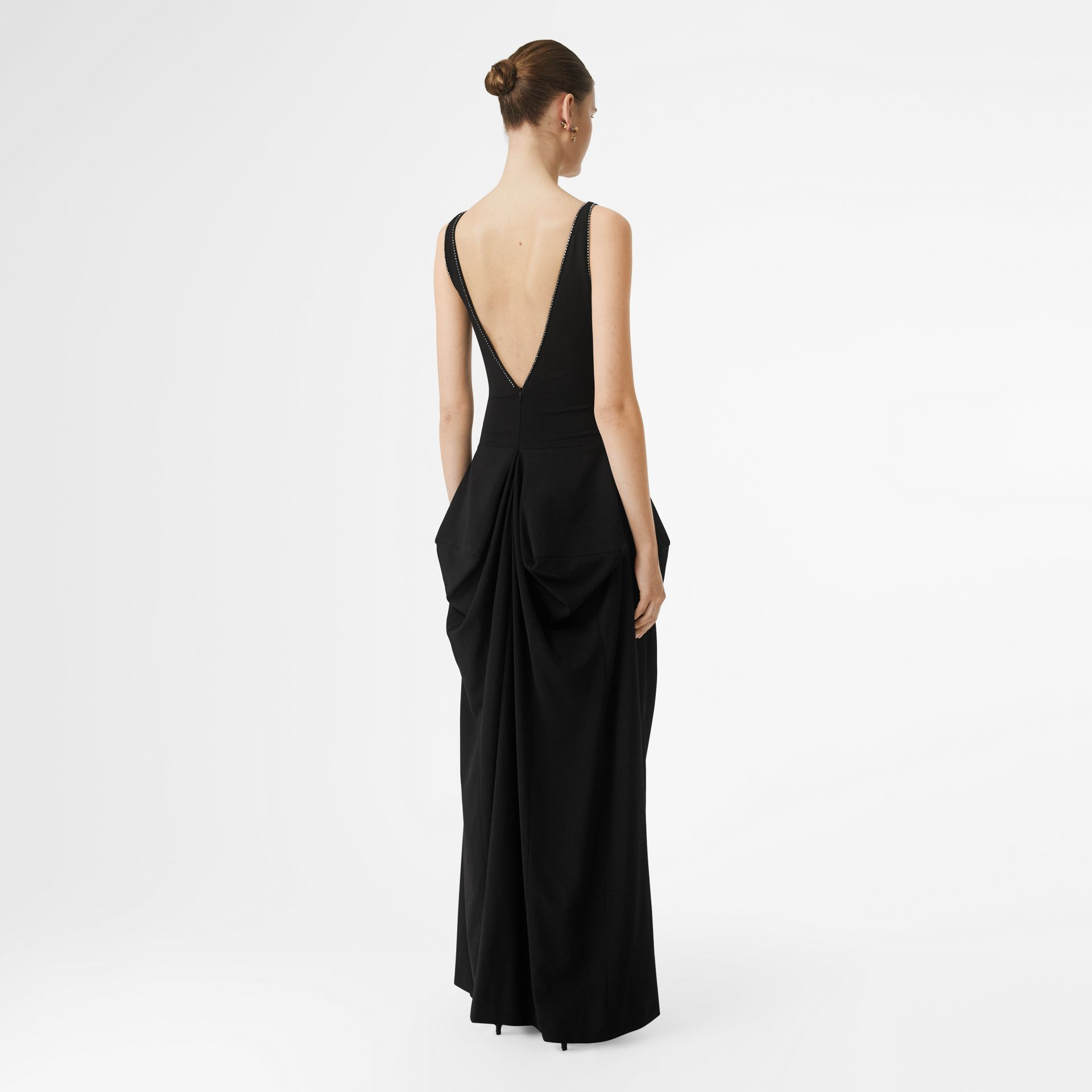 Crystal Detail Stretch Jersey Gown in Black - Women | Burberry - gallery image 2