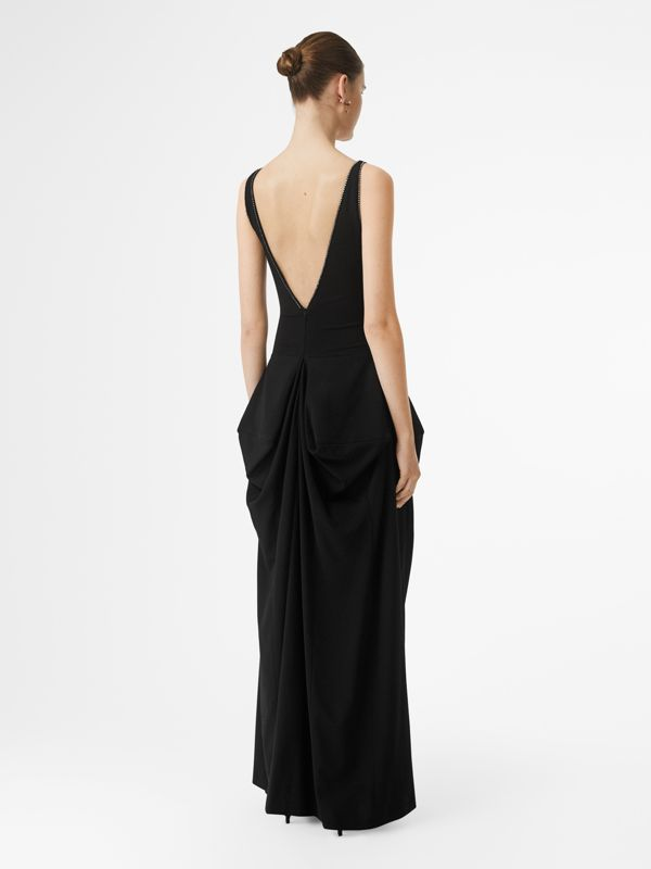 Crystal Detail Stretch Jersey Gown in Black - Women | Burberry - cell image 2