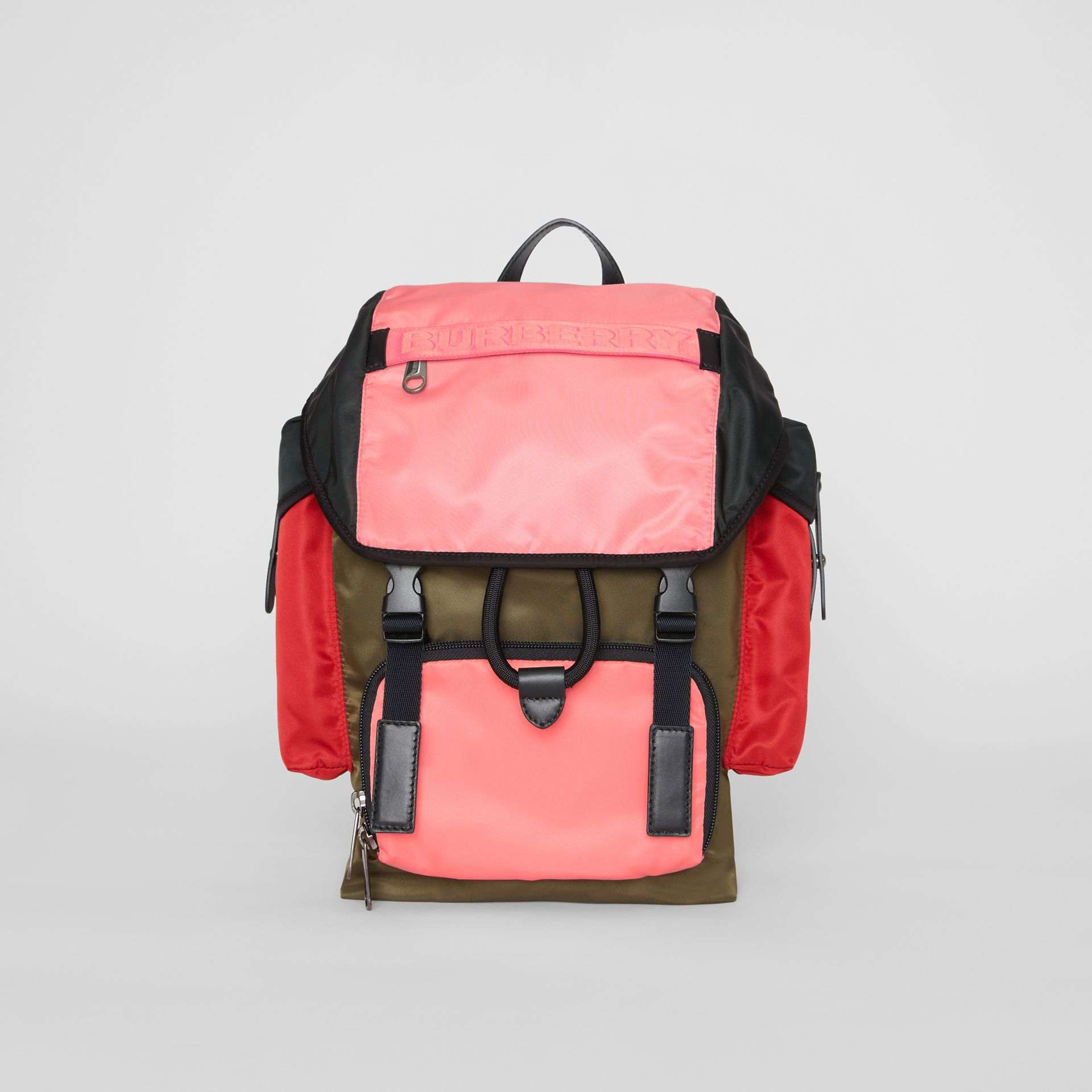 Large Leather Trim Colour Block Nylon Backpack in Multicolour | Burberry Hong Kong - gallery image 0