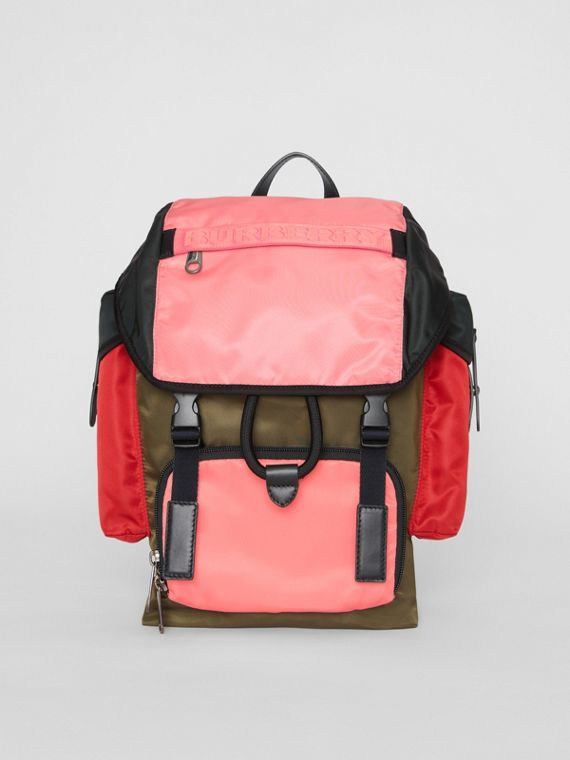 Large Leather Trim Colour Block Nylon Backpack in Multicolour