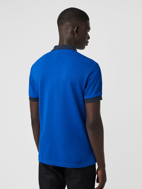 Contrast Collar Cotton Polo Shirt in Cerulean Blue - Men | Burberry - cell image 2