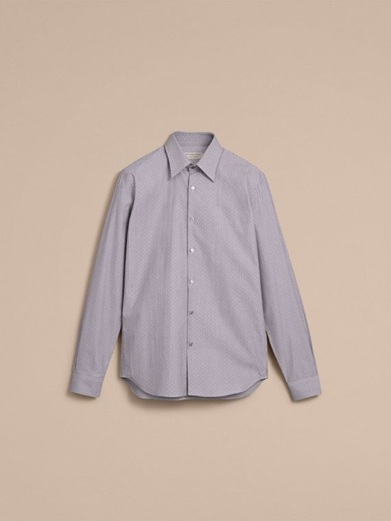 Slim Fit Striped Cross Dobby Cotton Shirt in Antique Navy - Men | Burberry Canada - cell image 3