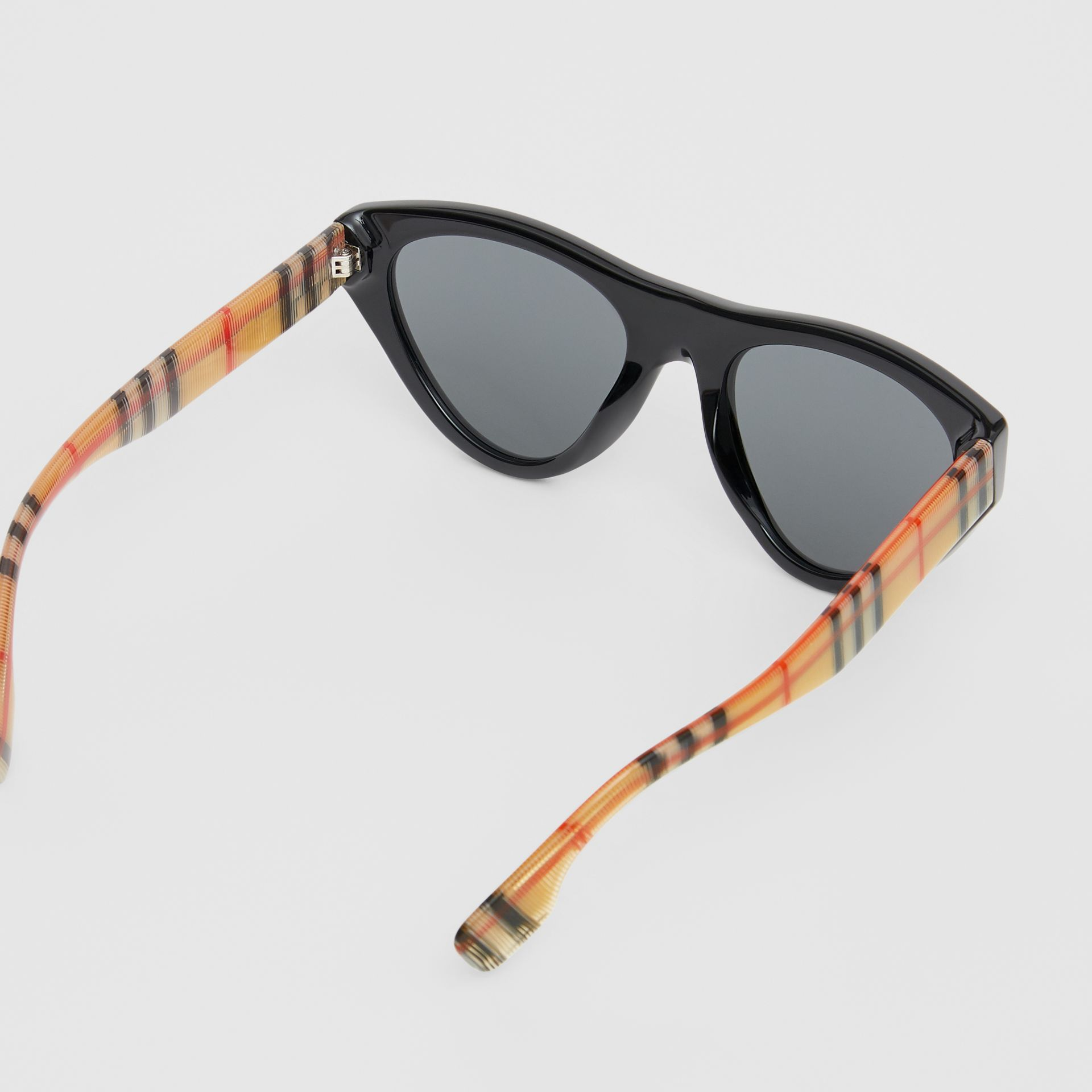 Vintage Check Detail Triangular Frame Sunglasses in Antique Yellow - Women | Burberry - gallery image 3