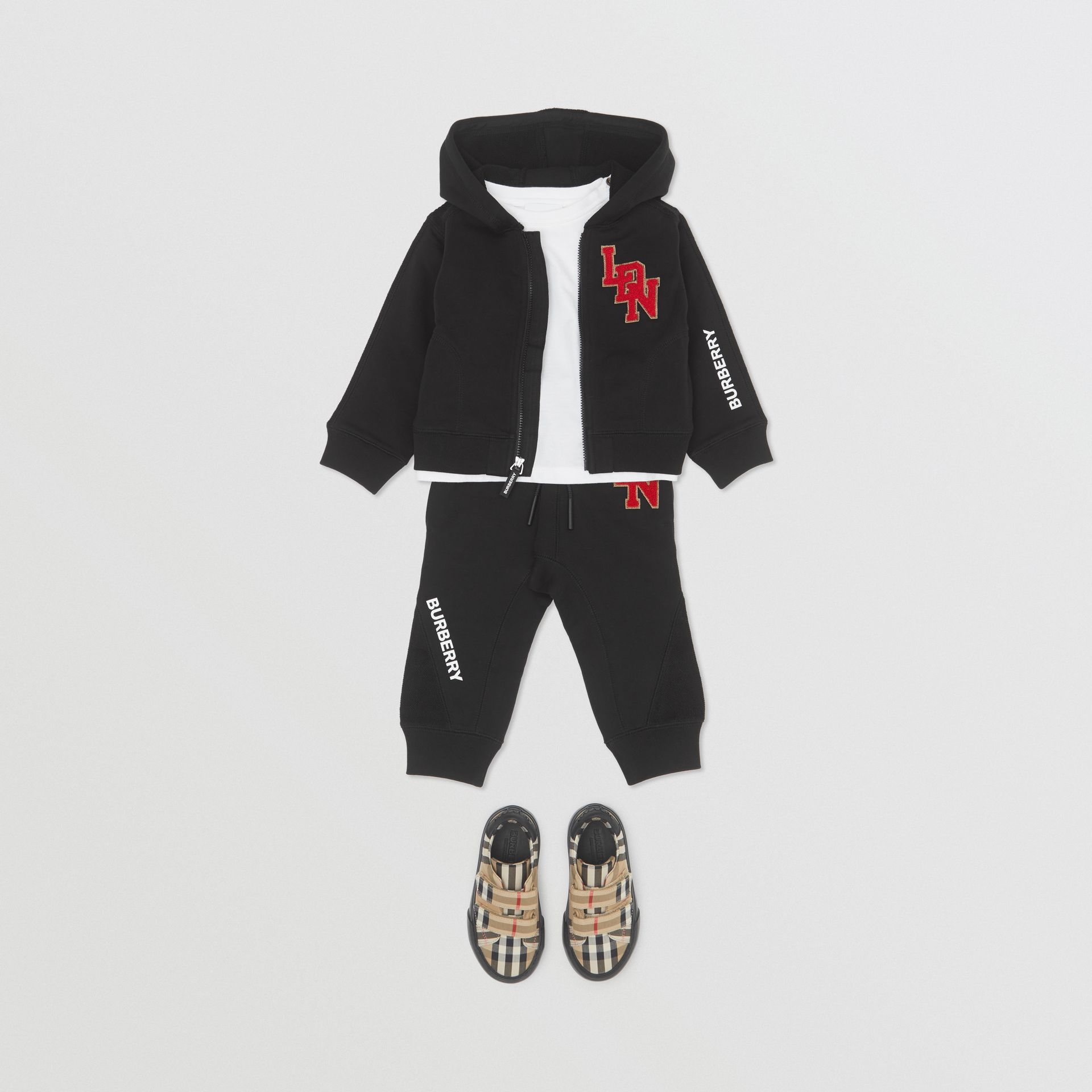 Logo Graphic Cotton Trackpants in Black - Children | Burberry Hong Kong S.A.R - gallery image 2
