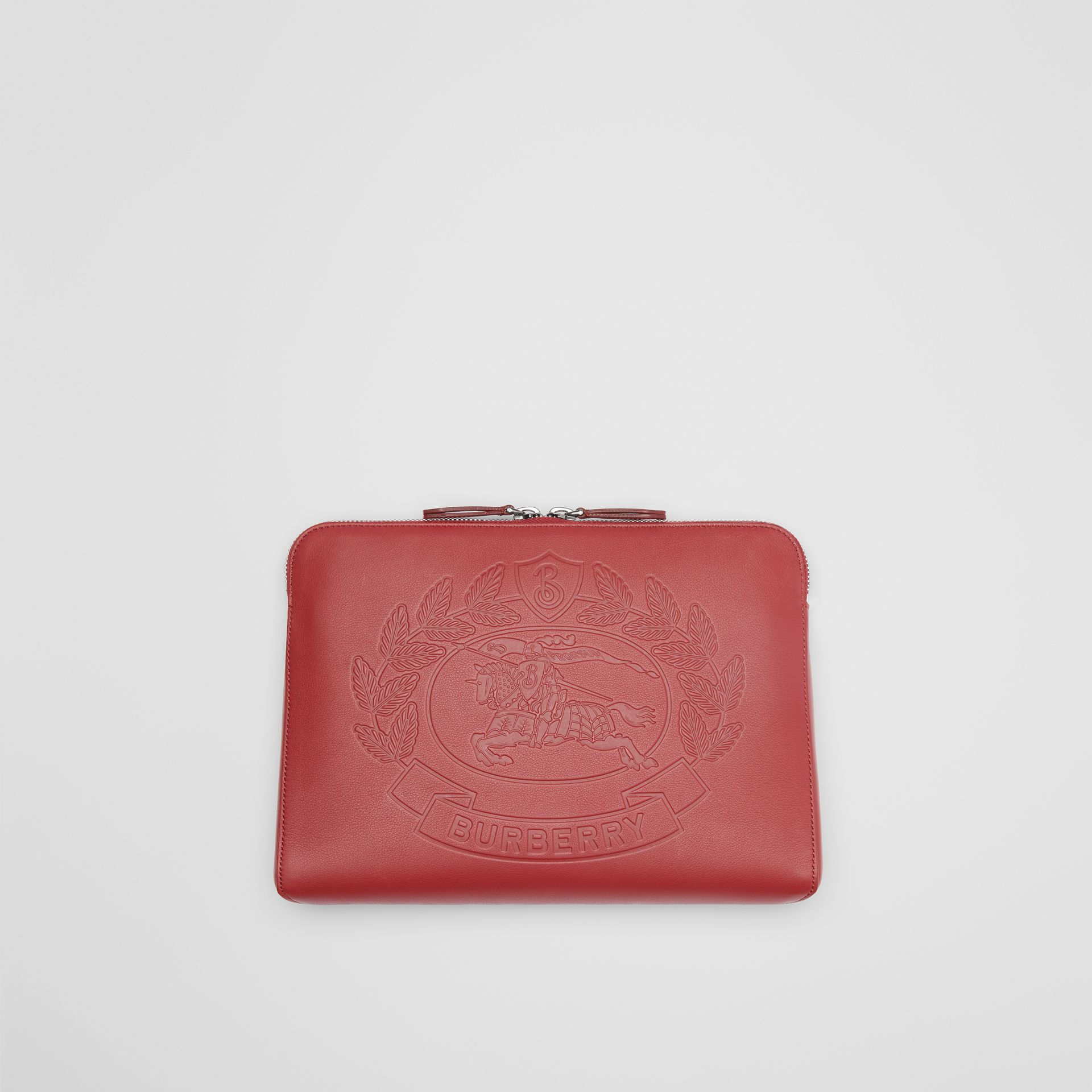 Embossed Crest Leather Document Case in Crimson - Men | Burberry - gallery image 0
