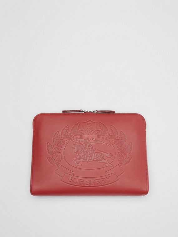 Embossed Crest Leather Document Case in Crimson