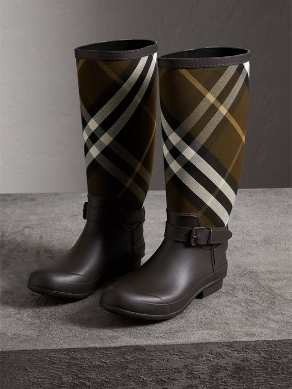 Belt Detail House Check and Rubber Rain Boots in Bitter Chocolate - Men | Burberry Australia - cell image 3
