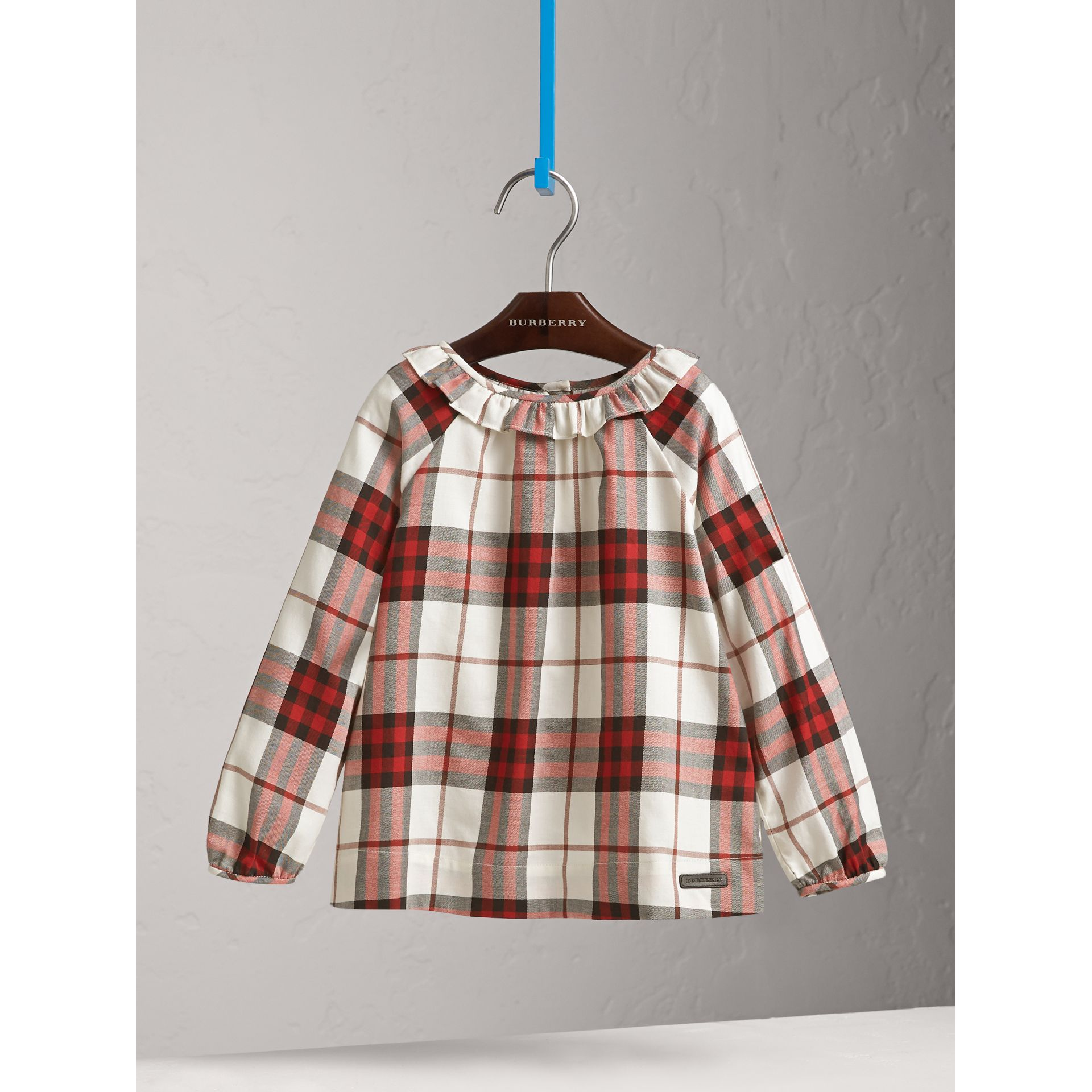 Ruffle Collar Check Cotton Flannel Top in Crimson Red - Girl | Burberry - gallery image 3