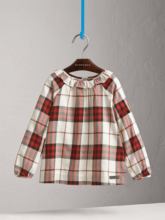 Ruffle Collar Check Cotton Flannel Top in Crimson Red - Girl | Burberry - cell image 2
