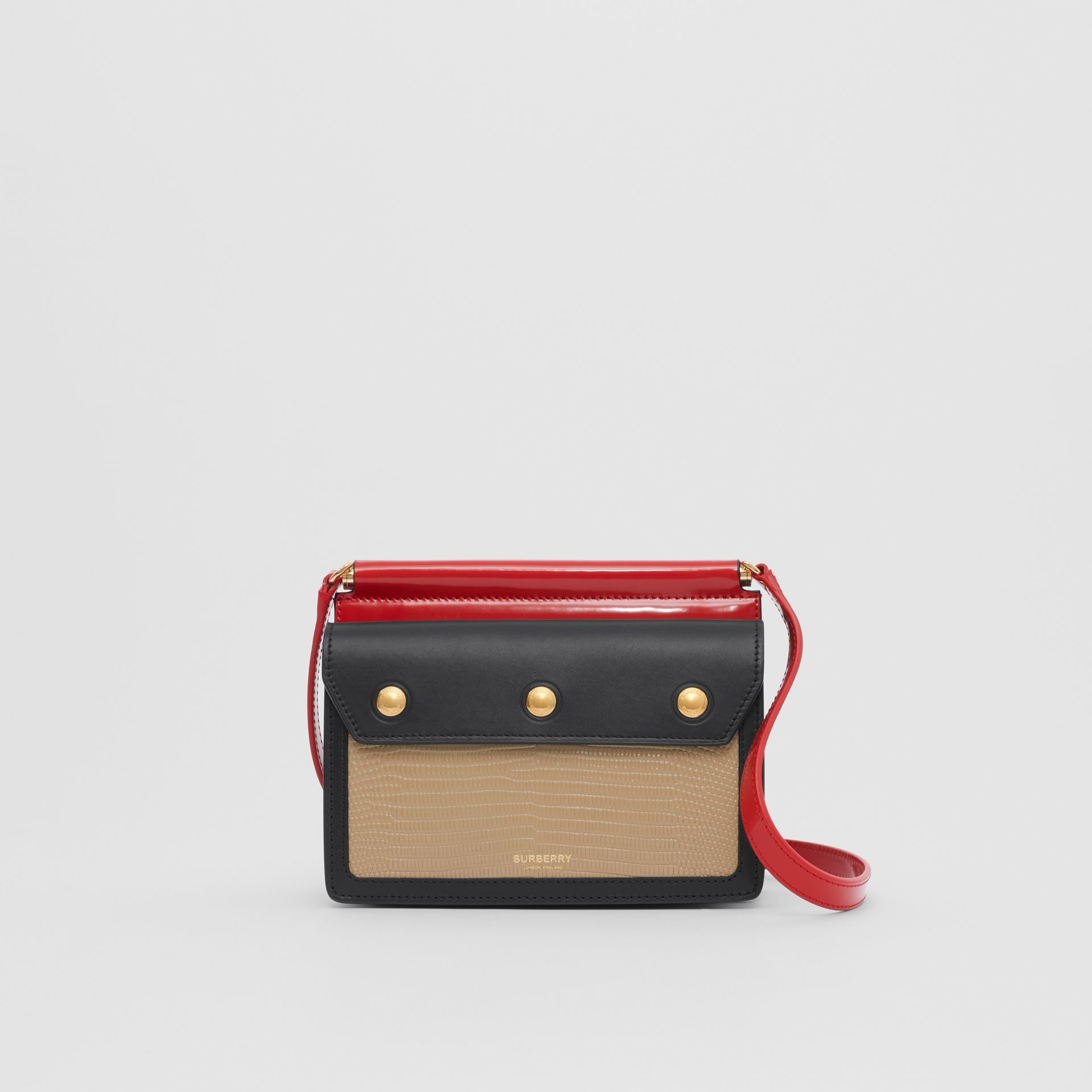 Mini Panelled Leather Title Bag with Pocket Detail in Honey - Women | Burberry Canada - gallery image 0