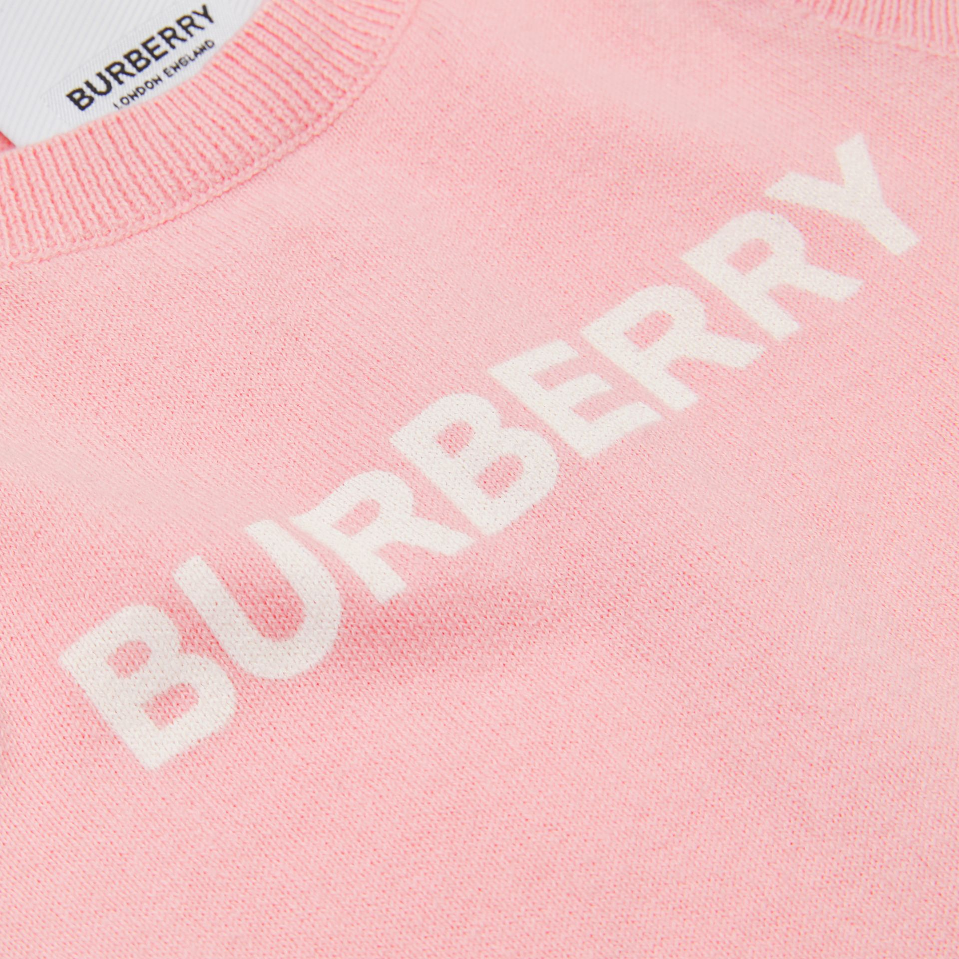 Logo Print Cotton Bodysuit in Pale Rose Pink - Children | Burberry - gallery image 1