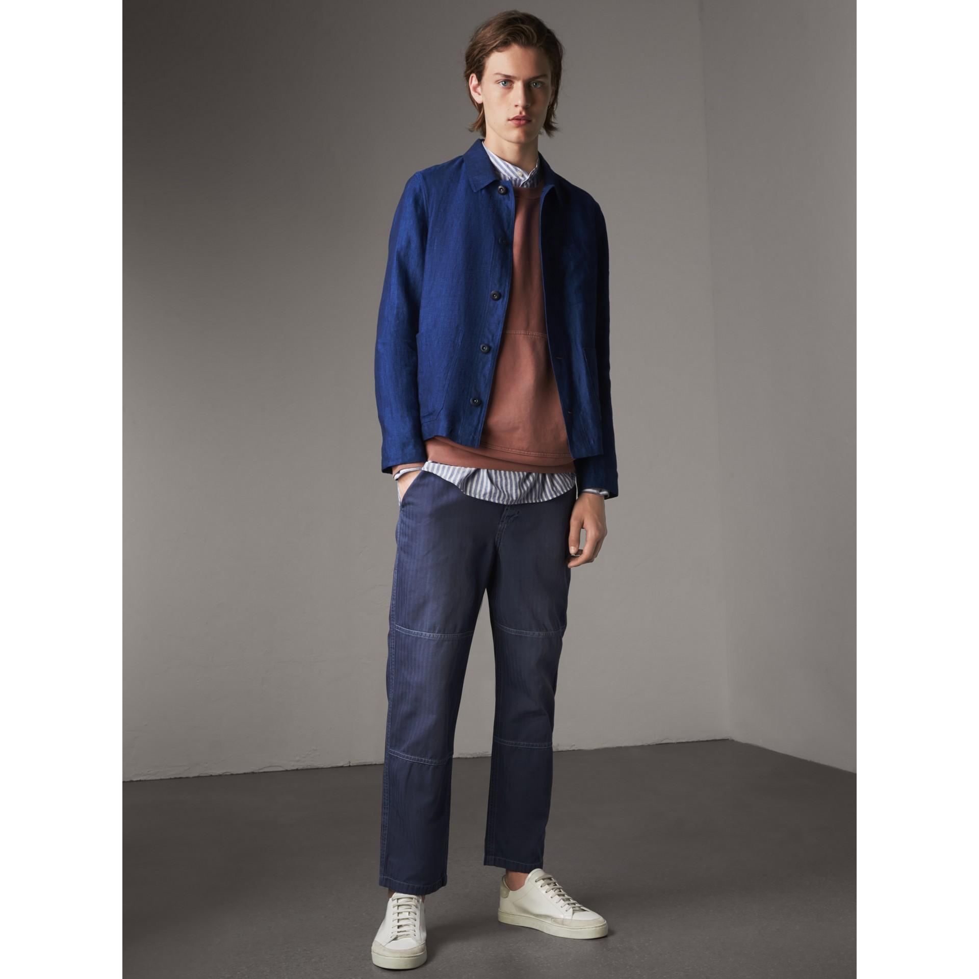 Linen Workwear Jacket in Steel Blue - Men | Burberry - gallery image 6