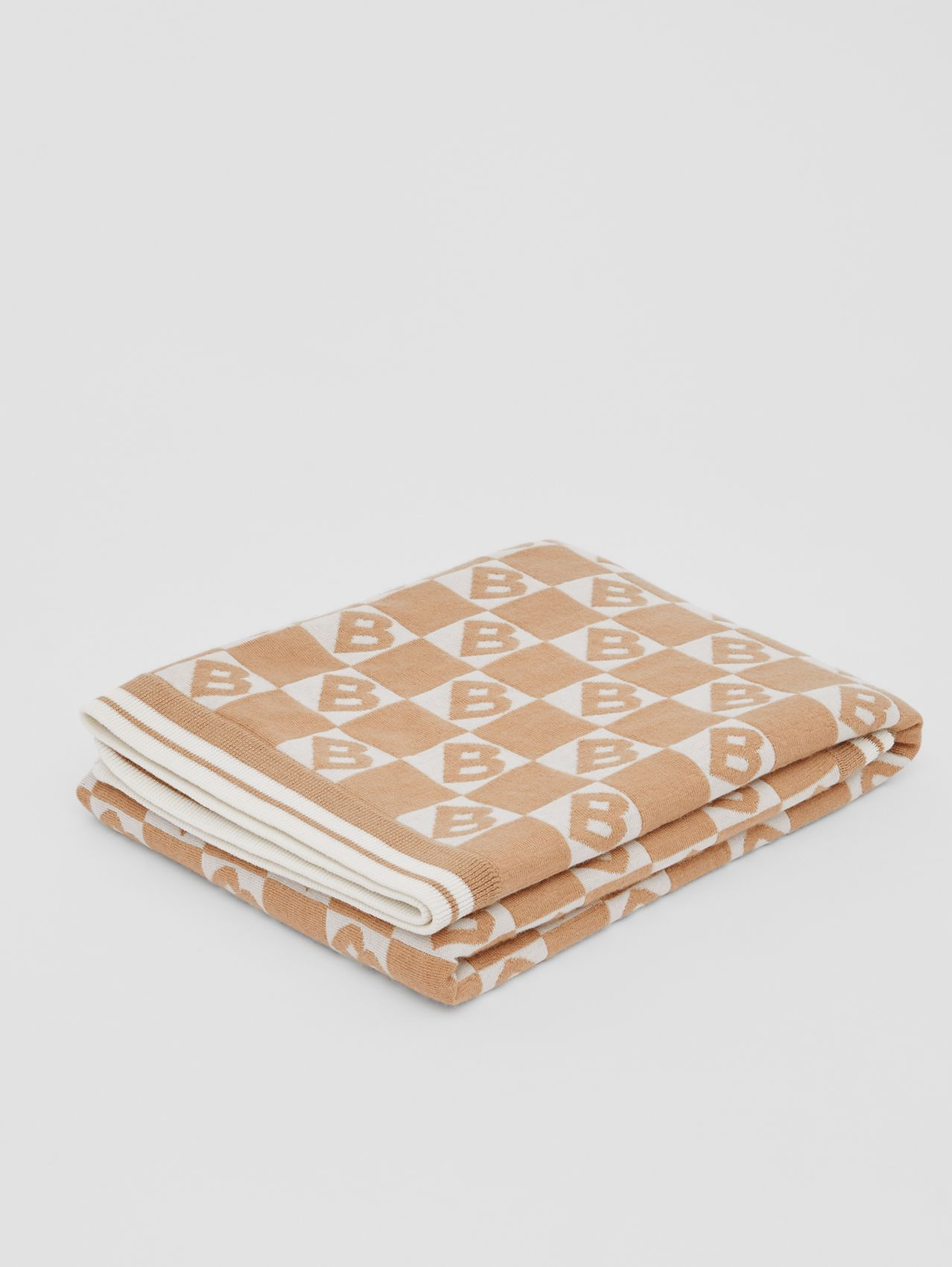 B Motif Cotton Merino Wool Cashmere Baby Blanket in Light Camel