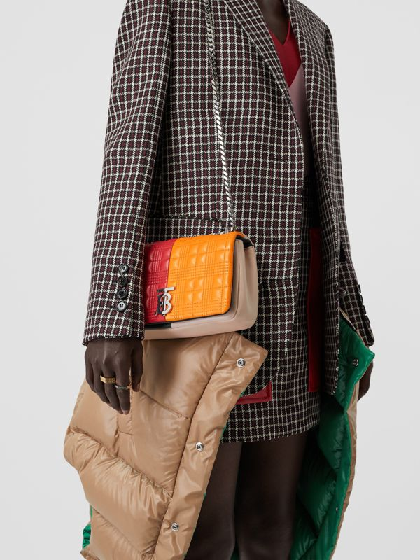 Small Quilted Check Colour Block Lambskin Lola Bag in Bright Red/orange - Women | Burberry - cell image 2