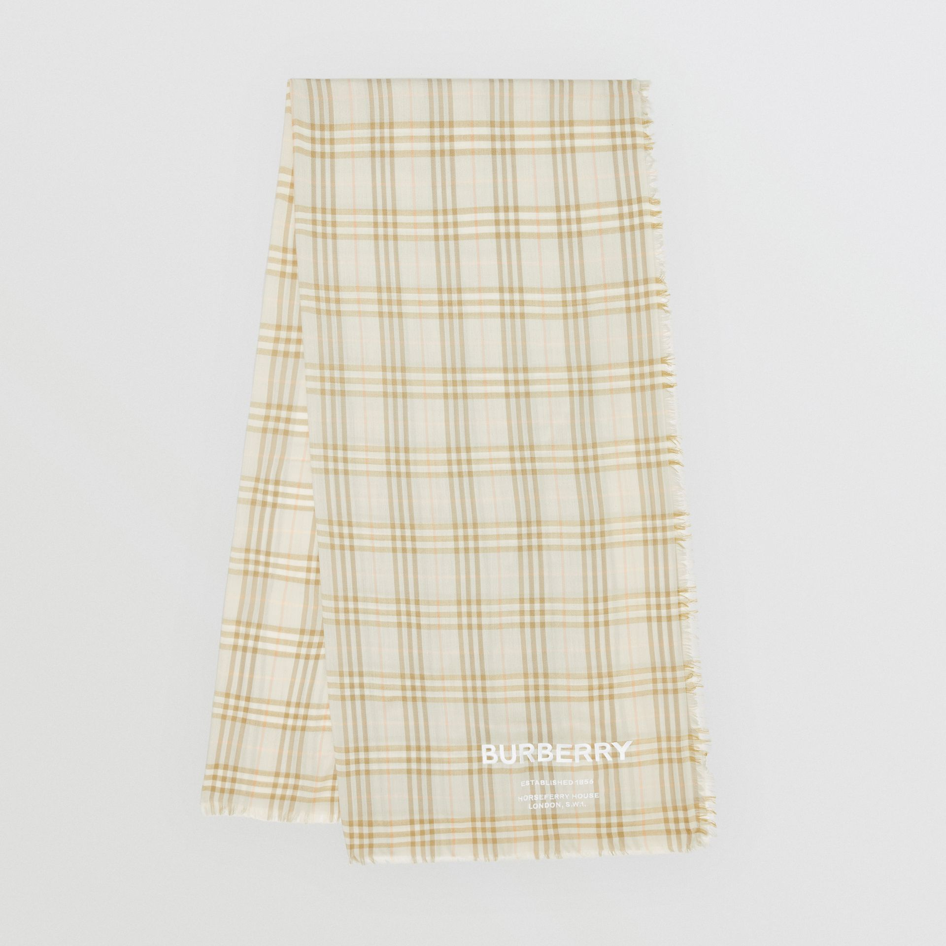 Embroidered Vintage Check Lightweight Cashmere Scarf in Pale Sage | Burberry Singapore - gallery image 0