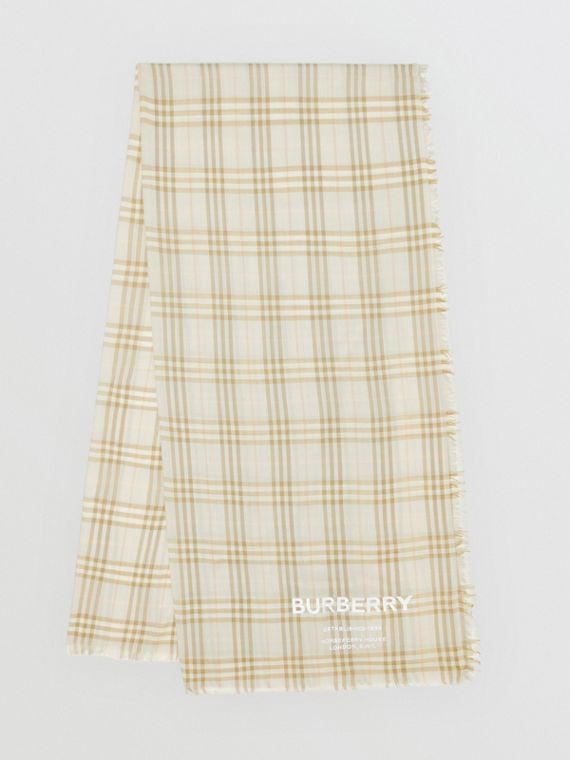 Embroidered Vintage Check Lightweight Cashmere Scarf in Pale Sage