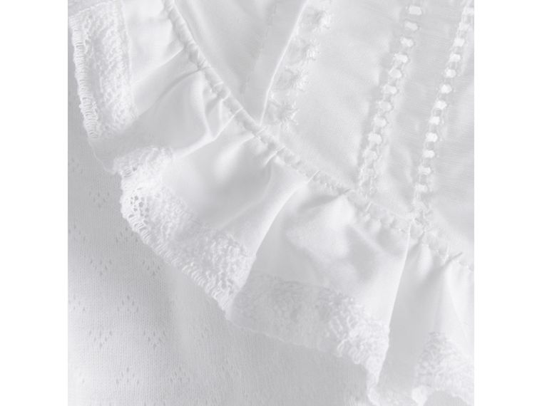 Lace Detail Cotton Bodysuit in White | Burberry - cell image 1