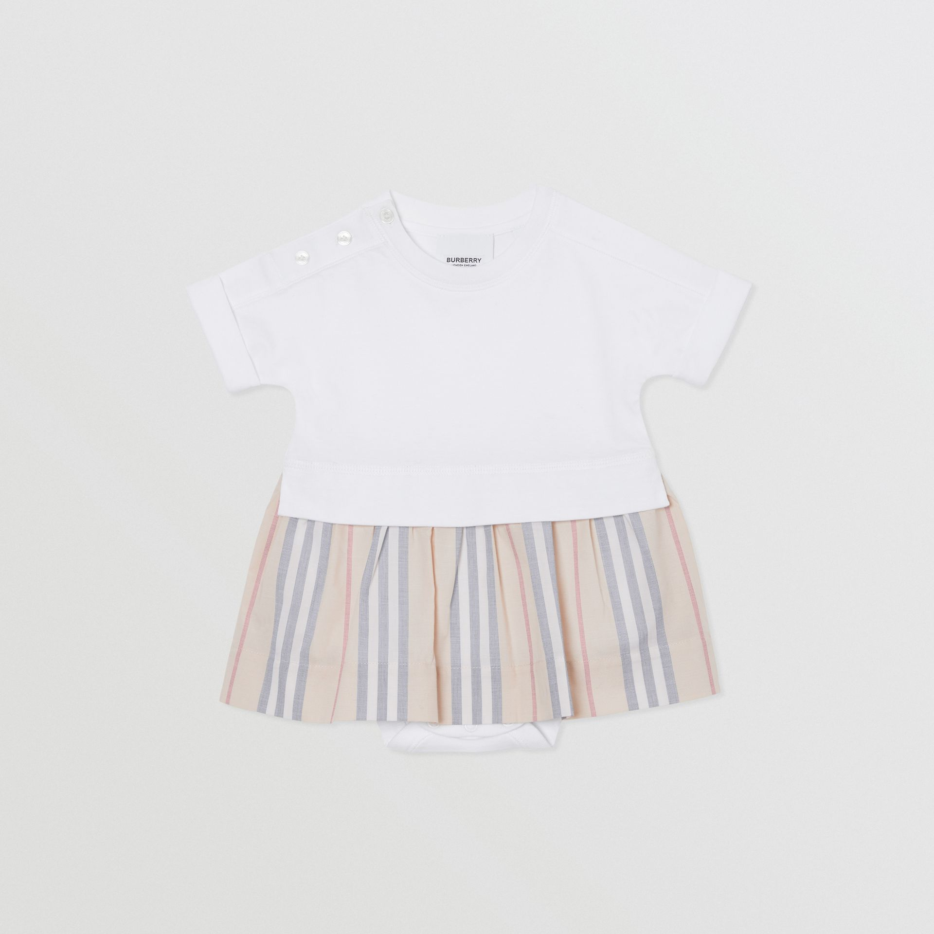 Icon Stripe Skirt Cotton Bodysuit in White - Children | Burberry Singapore - gallery image 0