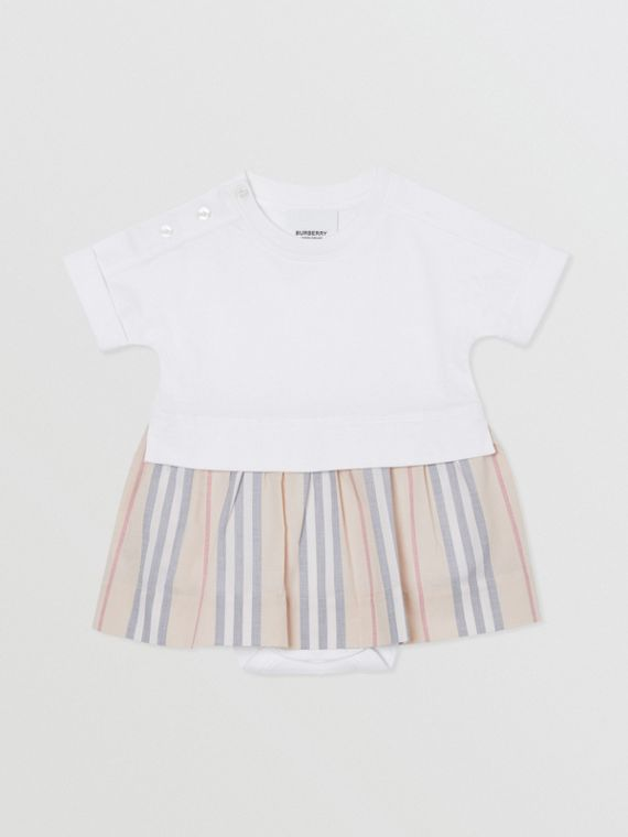 Icon Stripe Skirt Cotton Bodysuit in White