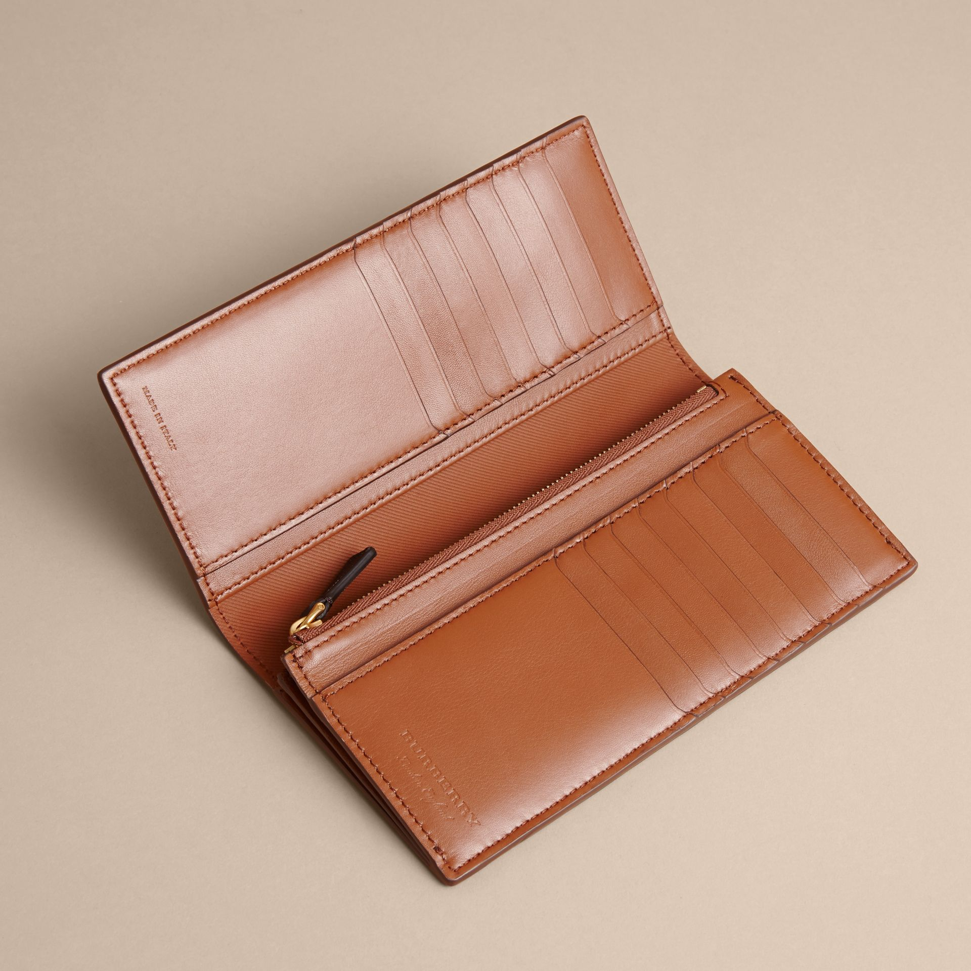 Trench Leather Continental Wallet in Tan - Men | Burberry - gallery image 5